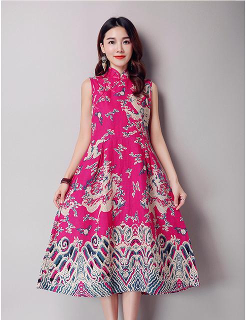 3 colores 2019 chino estilo nacional Tie-dye estampado Floral algodón Lino vestido largo otoño moda mujer suelto sin mangas ropa