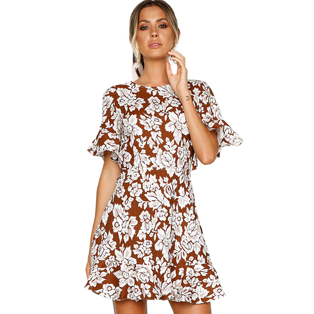 SanHuaZ 2018 Summer Spring Womens Dresses Casual Beach Party Printed Floral Backless Ruffles Halter A-line Women Mini Dress