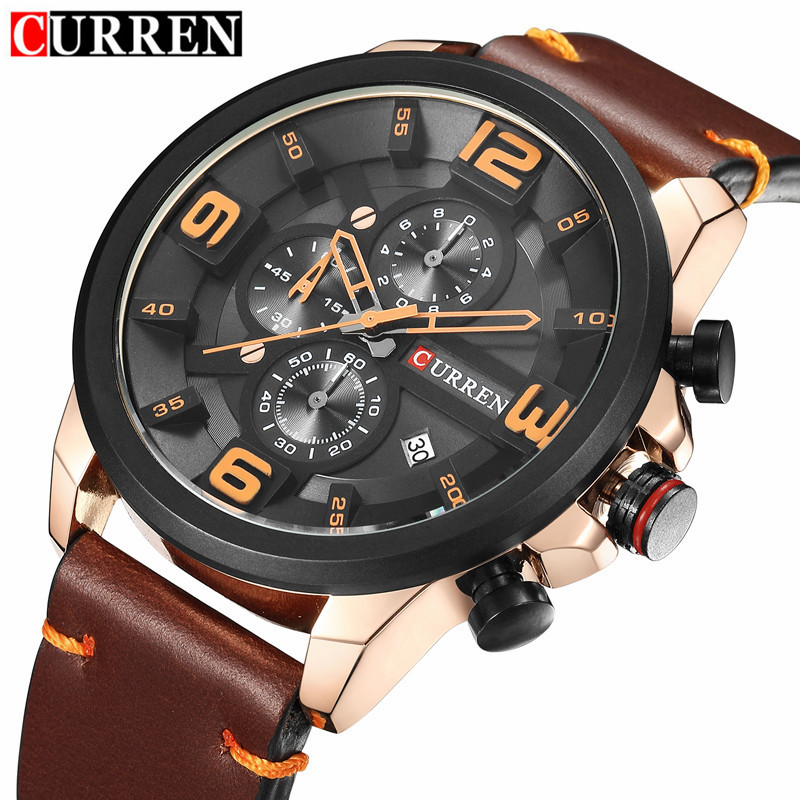 Relogio Masculino New Curren 8288 Mens Watches Top Brand Luxury Leather Men Quartz Watch 2017 Casual Sport Clock Male Wristwatch sinobi new slim clock men casual sport quartz watch mens watches top brand luxury quartz watch male wristwatch relogio masculino