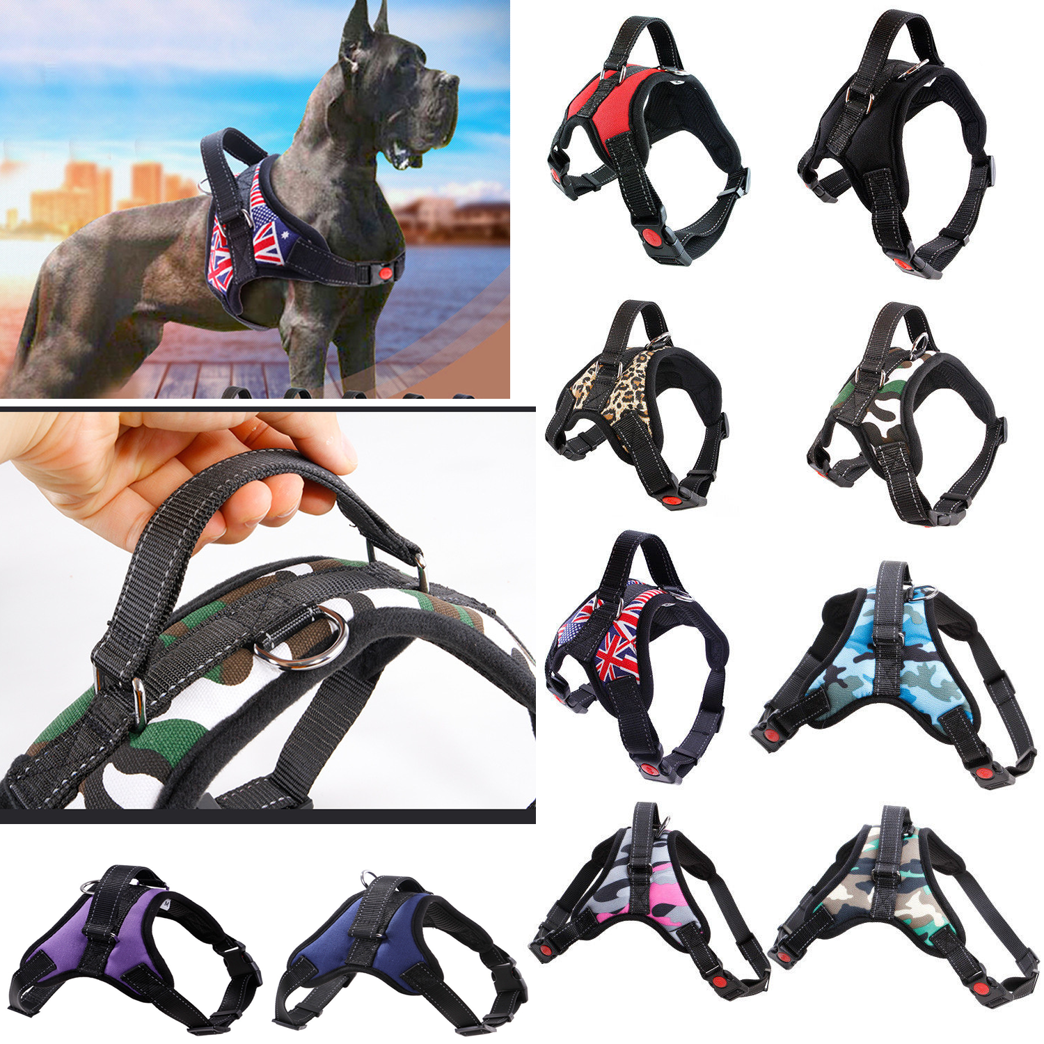 Nylon Heavy Duty Dog Pet Harness Collar K9 Service Padded Extra Big Large Medium Small Dog Harnesses Vest for Dogs Pet Supplies