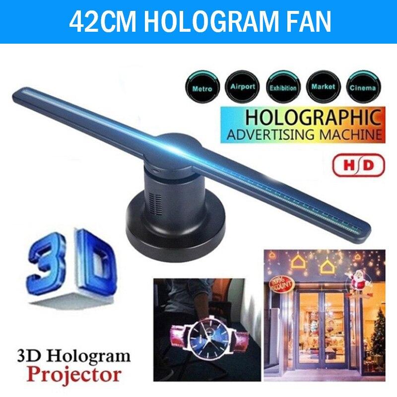 3D hologramme projecteur ventilateur holographique 224 LEDs publicité lampe affichage entreprise drôle 42cm parti décorations lecteur Kit