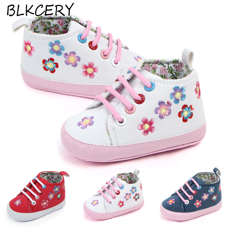 Newborn Baby Girl Shoes 1 Year Fashion Boots Toddler No-slip Sneakers Infant Footwear For Walking Booties Crib Shoes With Flower
