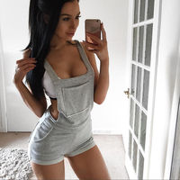 2017 New Arrivals Hot Casual Backless Gray Playsuits