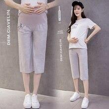 338#7/10 тонкие льняные Цветочные Вышивка Материнство летние брюки модные регулируемые капри для живота для беременных женщин Одежда для беременных