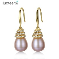 LUOTEEMI New Luxury Gold Color 925 Sterling Silver CZ Freshwater Pearl Wire Hook Dangle Earrings For