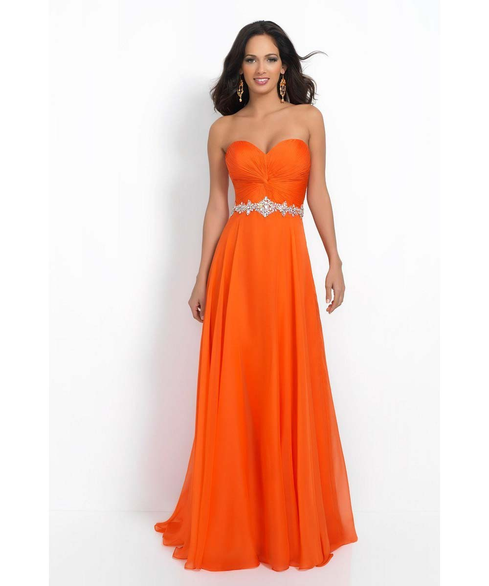 Orange Bridesmaid Dresses Sweetheart Skeeveless Backless Pleats Chiffon Aline Long In From Weddings Events On