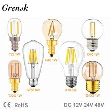 Ampoule à cuivre E27 12V 24 V, A19 ST58 6 W, E27, blanc, T22 G40, basse tension, 1W E12 E14,