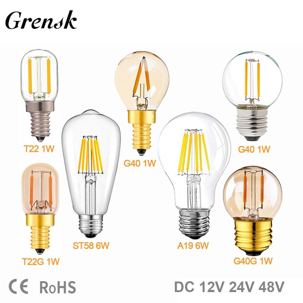 E27 12V 24V Светодиодная лампа A19 ST58 6W E27 светодиодная лампа дневного света белый T22 G40 низкое напряжение 1W E12 E14 Светодиодная лампа RV Паровозик комнатный свет