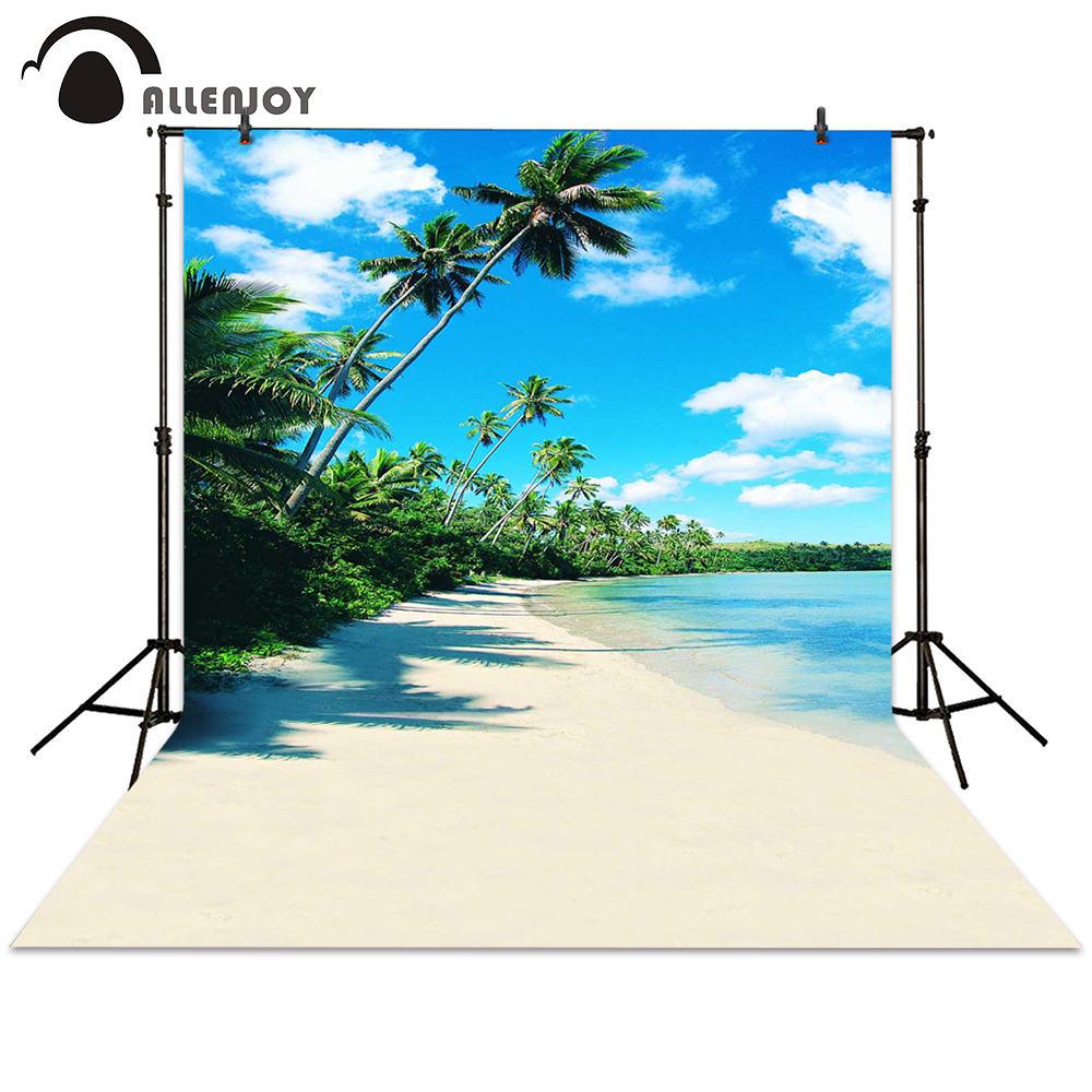 Allenjoy photography backdrop sea beach coconut tree sky summer background photocall photographic photo studio allenjoy background photography pink birthday table flower cake wood backdrop photocall photobooth photo studio
