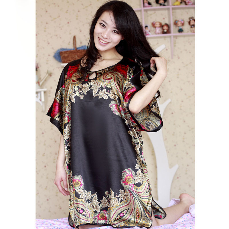 Large Size Women Nightgowns Silk Satin Robes Short-Sleeved Long Sleepwear  Dress Summer Casual Sleepshirts Dresses ... c7a9a9be5