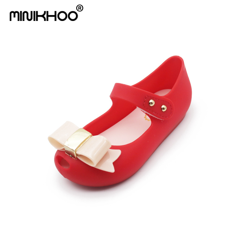 Mini Melissa New Bow Tie Girl Jelly Sandals 2018 Children Shoes Girls Sandals Beach Sandals Melissa Jelly Sandals High Quality