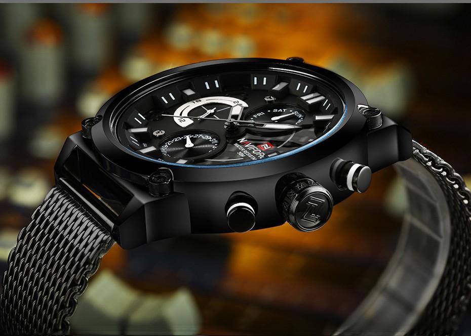2017 NAVIFORCE De Luxe Marque Hommes de Quartz Analogique 24 Heure Date montres Homme 3ATM Imperméable À L'eau Horloge Hommes Sport Complet Bracelet En Acier montre 18