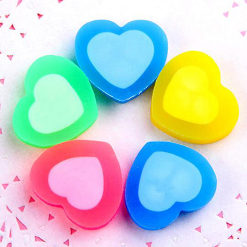 30 Pcs / Lot Cute Colorful Heart Shape Rubber Eraser Cartoon School Office Stationery For Kids Stationery Christmas Gift Prize