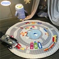 1Pcs Kids Baby Play Mats Storage Bag Round Carpet Rugs Large Canvas Rawling Mat Carpet Portable