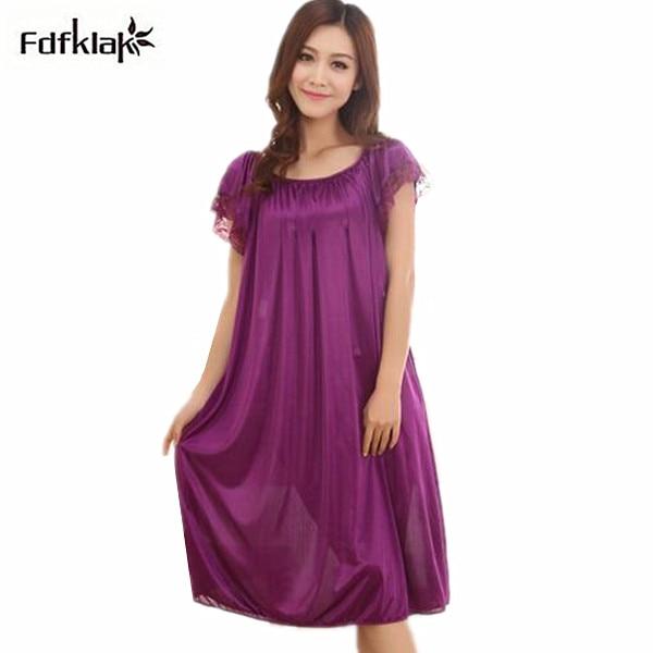 Large size women nightgowns silk satin robes short-sleeved long sleepwear  dress summer casual sleepshirts dresses for women Q624 40b684937
