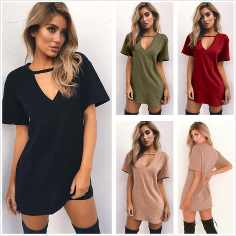Women Summer T-Shirt 2018 Casual Loose Short Sleeve TShirts Sexy V-Neck Cotton Tee Shirt Femme Ladies Long Tops Plus Size