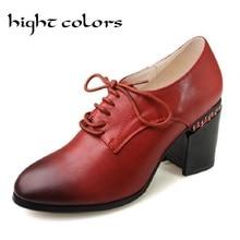 Moda decoración cadena de la vendimia talón grueso cordón zapatos de tacón alto de las mujeres negro rojo de las mujeres ocasionales oxford bress bombas tamaño 43