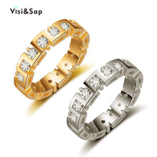 Visisap Retro Yellow White Gold Color Ring Party Rings For Men Clear Stone Fashion Jewelry Lovers Gifts Dropshipping VSR247 visisap titanium steel wide men ring size 7 14 dropshipping yellow black steel gold color rings for birthday gifts jewelry s r35