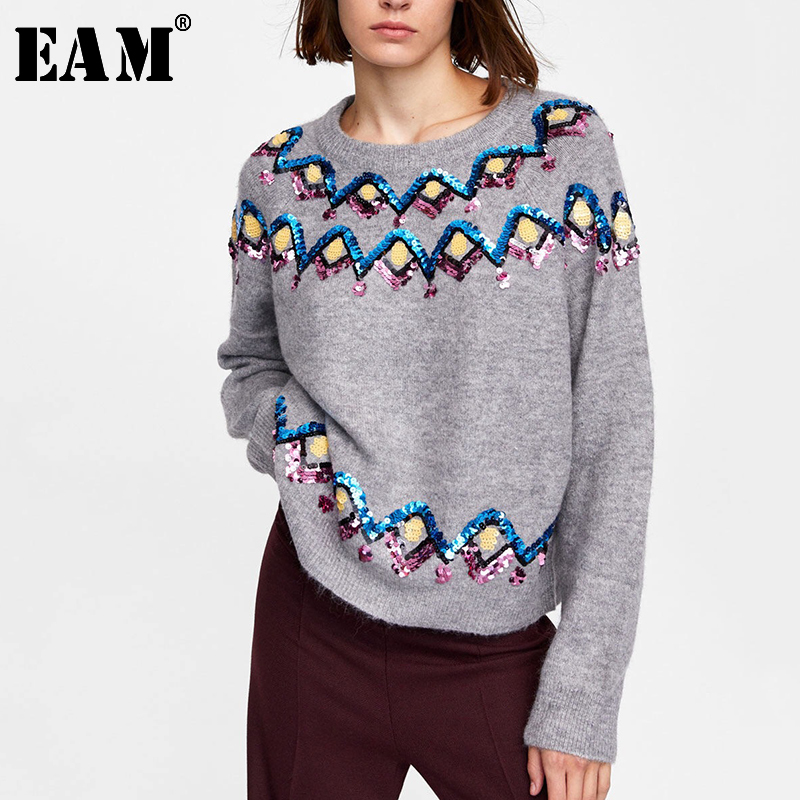 [EAM] 2020 New Spring Autumn Round Neck Long Sleeve Gray Beaded Diamond Large Size Knitting Sweater Women Fashion Tide JH984