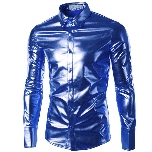 Mens Trend Night Club Coated Metallic  Gold Silver Button Down Shirts Party Shiny Long Sleeves Dress Shirts For Men