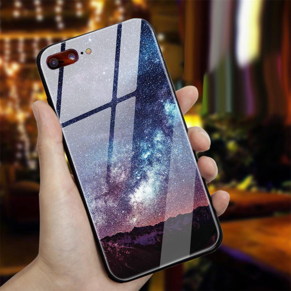 TOMKAS Star Sky Pattern Glass Case For iPhone X 7 8 6 6 s Cover Phone Cases For iPhone 7 8 6 6s Plus X Case Silione TPU PC Coque (2)