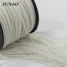 JUNAO 1.5 مللي متر حبات اللؤلؤ الأبيض سلسلة زخرفة حُلي من الأحجار المرصعة للتزيين اللؤلؤ حبة سلسلة ستراس كريستال باند للزينة إكليل الزفاف
