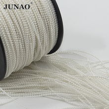 JUNAO 1.5mm White Pearl Beads Chain Trim Bridal Applique Pearls Bead String Strass Crystal Band for Wedding Garland Decoration