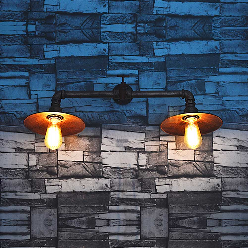 ФОТО Black 2 Head Loft Wrought Iron Industrial Water Pipe Vintage Retro Wall Lamp Sconce Creative Beside Lamps Home Light Fixture