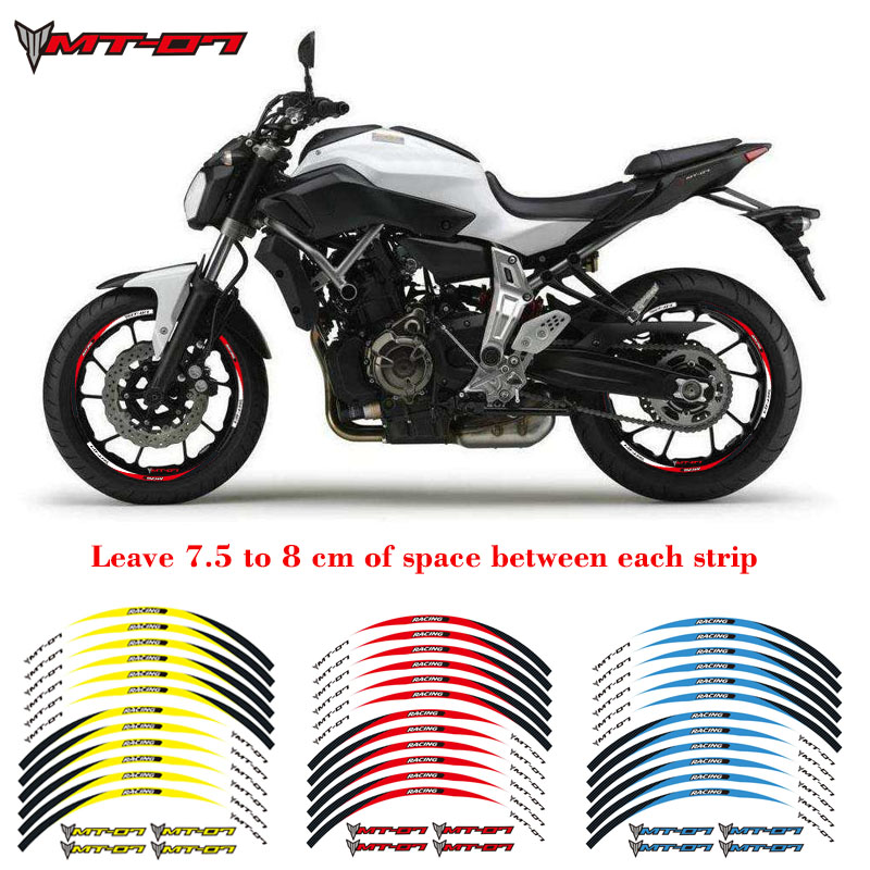 High Quality Motorcycle 1set Front&rear Edge Rim 17inch Wheel Decals Reflective Stickers For YAMAHA MT-07 Reflective Sticke