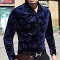 Homens de estilo britânico de manga comprida camisa de roupas casuais fino masculino