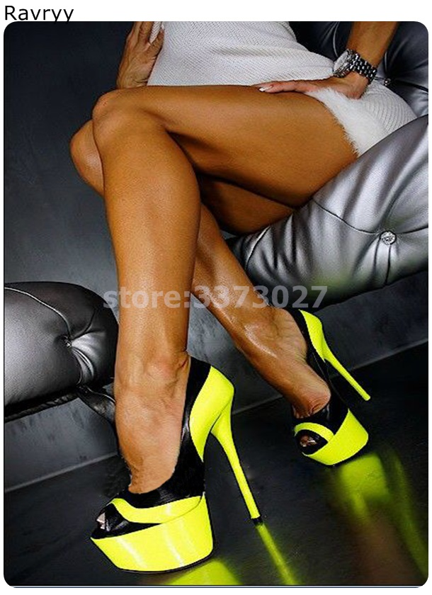 Fashion Yellow Woman high heel peep Toe platform heel Sexy Pumps Thin heel female dress shoes stiletto heels OL outfit slip on in Women 39 s Pumps from Shoes