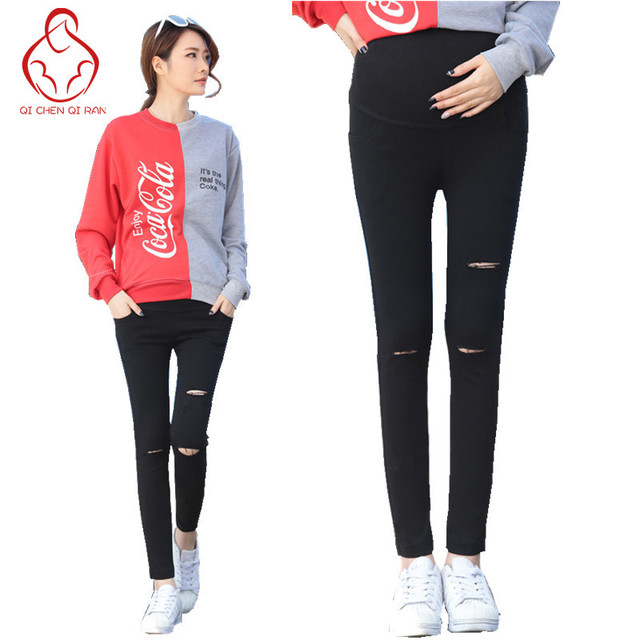 2017 spring new pregnant women pants hole elastic pregnant women leggings pregnant clothing summer maternity dress nine pants