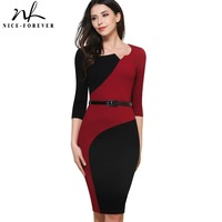 Nice Forever Vintage Mature Classic Work Patchwork Contrast Color 3 4 Sleeve O Neck Tunic Bodycon