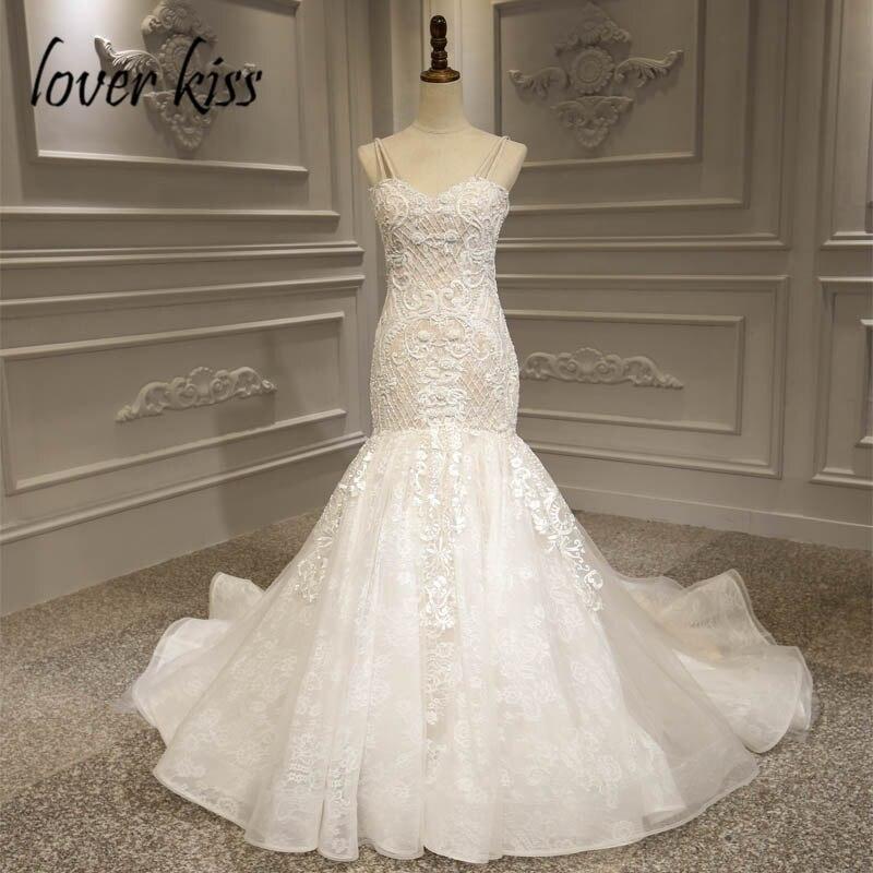 Lover Kiss Vestido De Noiva 2019 Luxury Lace Mermaid Wedding Dress Ceremonial Attire Beaded Pearls Africa