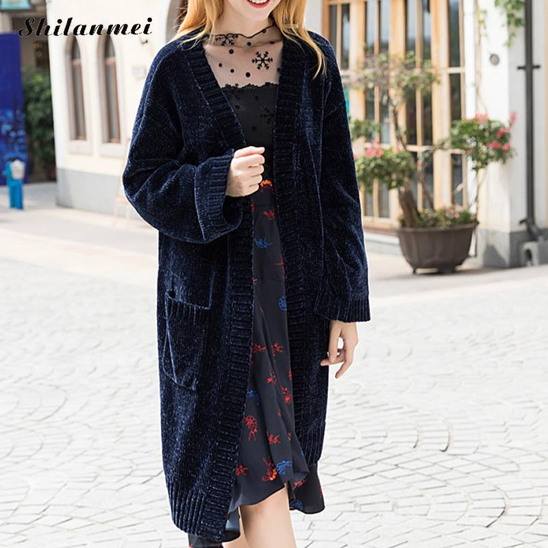2019 chaud femmes Fanshion Cardigan vêtements d'extérieur manteau pull décontracté mi-long haute qualité taille libre noir bleu lâche thermique Casaco