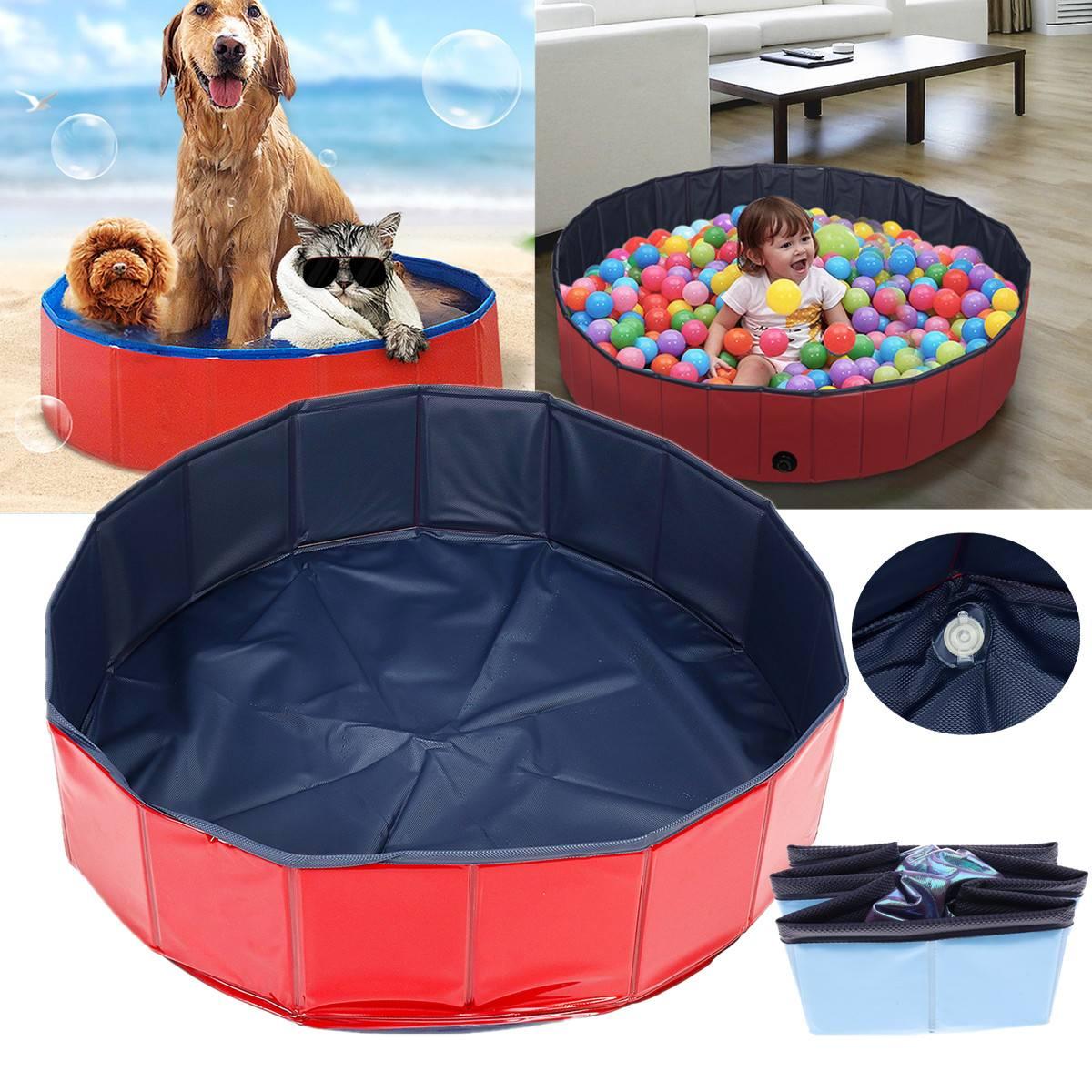 Roblue Pet Bath Dog Swimming Pool Foldable Paddling Pool Puppy Swimming Bathing Tub for Cat Dog