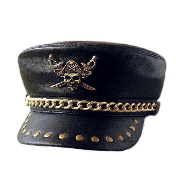 Sombrero de cuero genuino del Club de la motocicleta Punk Rock Show remache  sombrero de la 33c4e087f79
