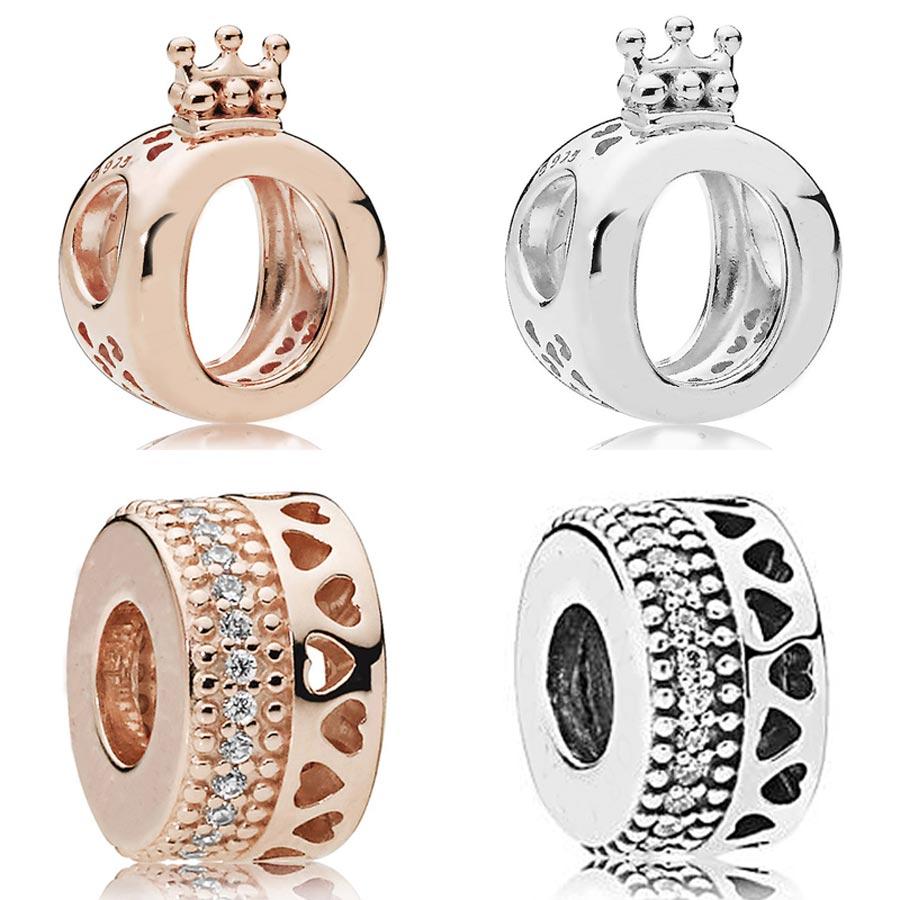 Logotipo de oro rosa firma radiante Silber Hearts Royal Crown Charm Fit Pandora pulsera 925 Sterling Silver Bead Charm DIY Jewelry