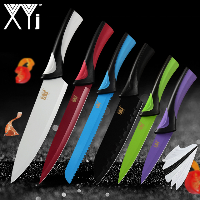 XYj Stainless Steel Kitchen Cook Knife Set Fantastic Colorful Chef Bread  Slicing Paring Utility And Santoku
