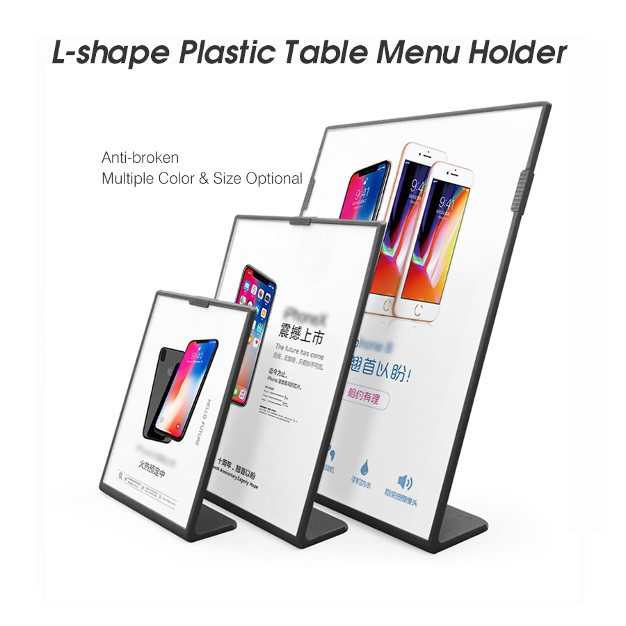 A5 L Shape Tabletop Acrylic Menu Sign Holder Promotion Products Counter Leaflet Flyer Poster Holder Display Stands Frame