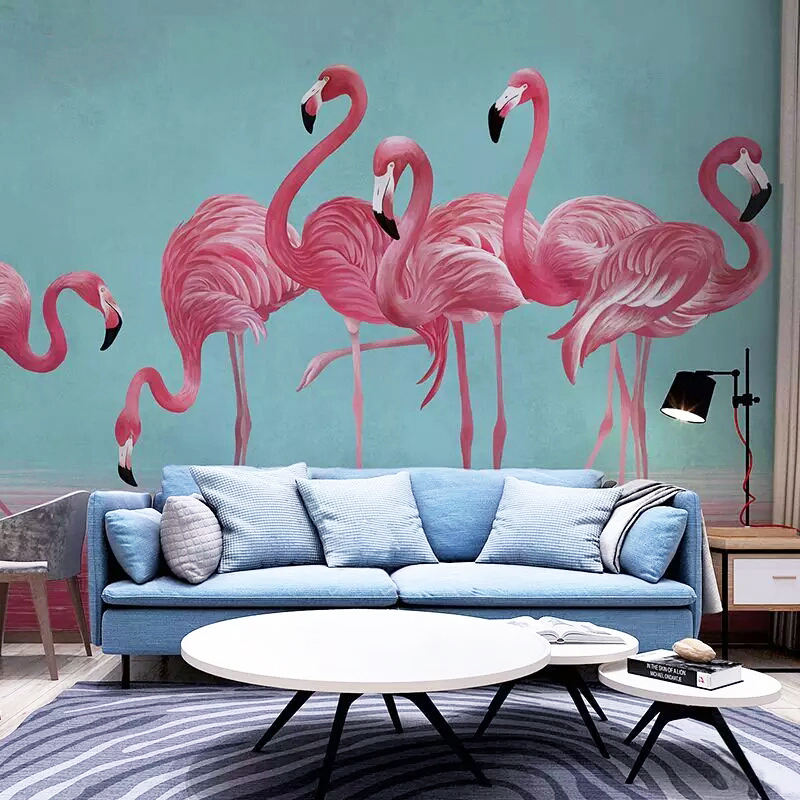 Hand Printing Painting Flamingo Wallpaper Mural for Living Room Wall Decor 3d Wallpaper Photo Wallpaper Custom Size Large flamingo wall mural