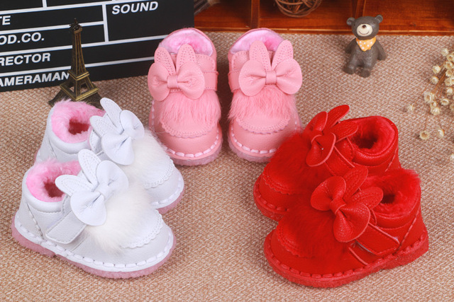 2016 autumn and winter baby girl cotton-padded shoes infant baby bow warm toddler boots casual baby cotton shoes cute