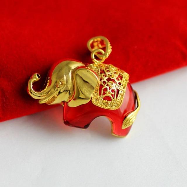 Imitado pedra mosaico colar de pingente de ouro para as mulheres ouro amarelo cheio elefante boa sorte pingente de animais