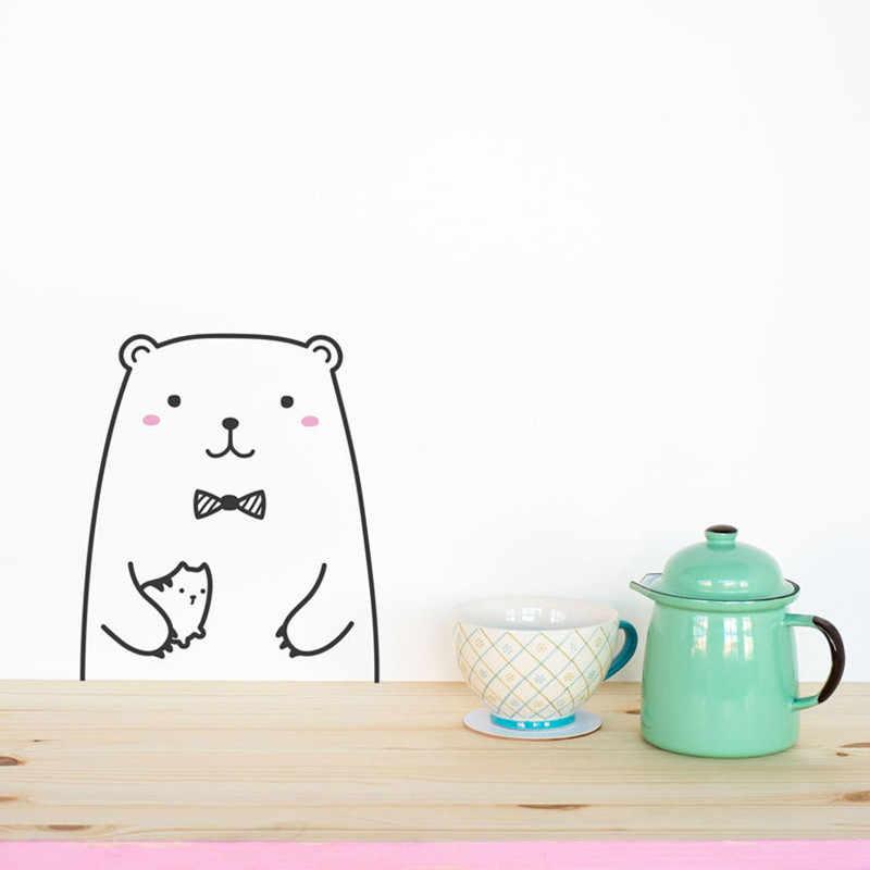 Lucu Hewan Beruang Tiger Kucing Indah Vinyl Stiker Dinding Lemari Dapur Seni Kartun Dinding Stiker untuk Anak-anak Kamar Lemari Pakaian Dinding dekorasi