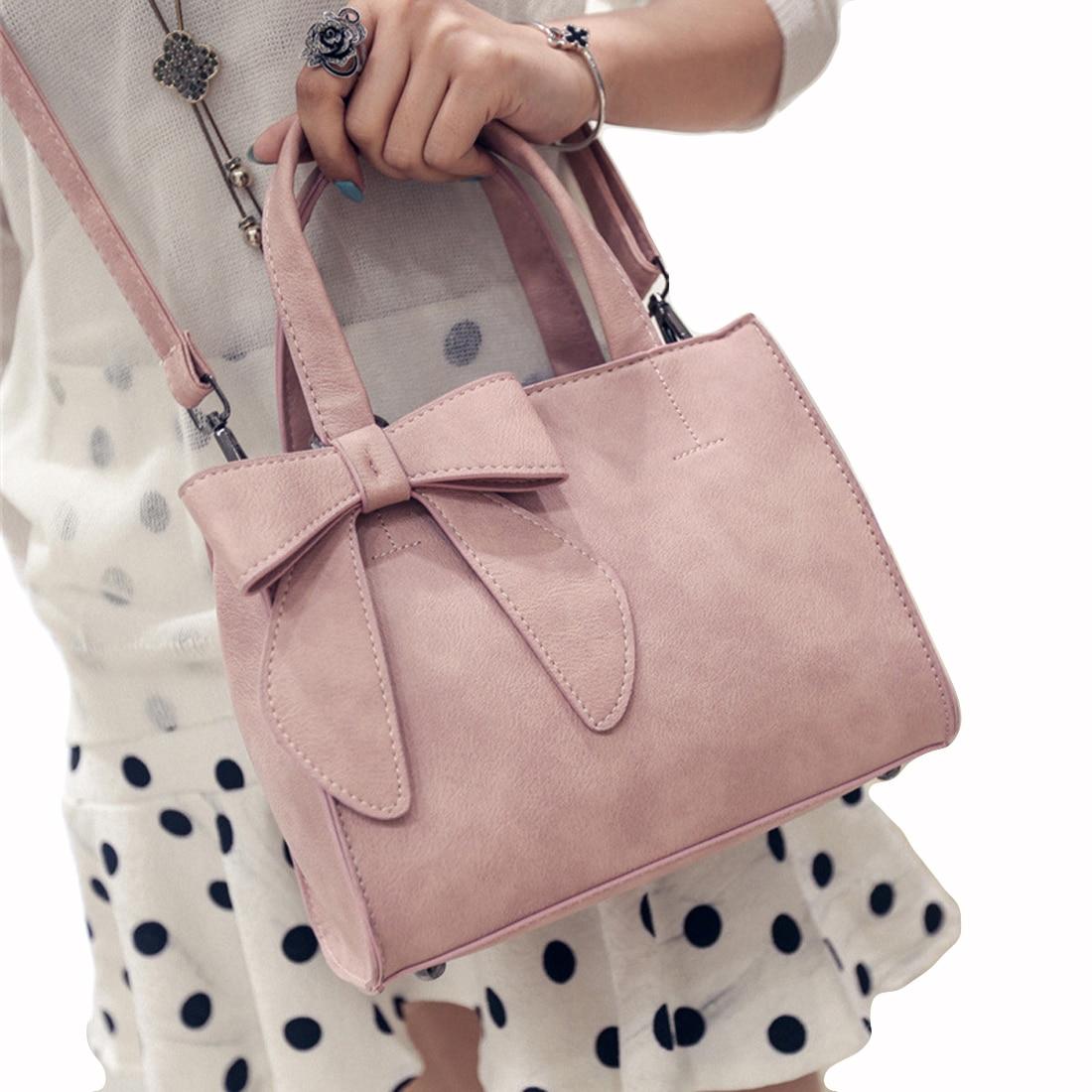 High quality leather bag ladies handbags 2017 girls elegant bowtie Women messenger bags handbags women famous