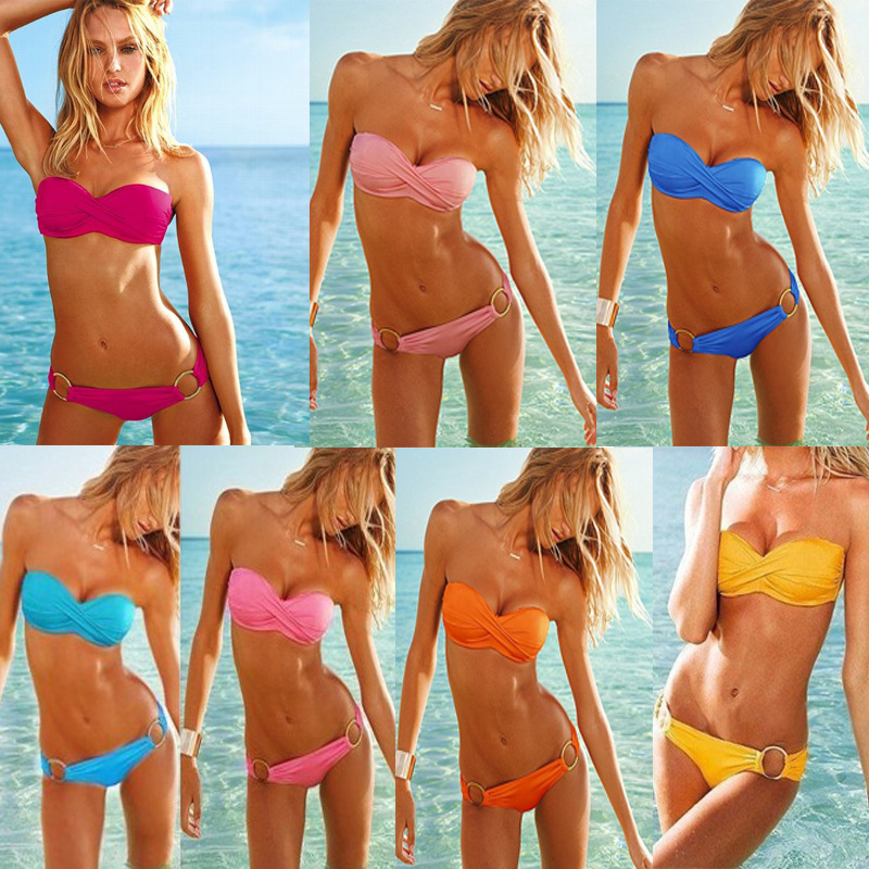 0d42977bf3 2014 Fashion Pink orange rose red yellow light blue navy blue Solid Color  Padded Bikini Top + O-ring Bottom girls Free Shipping