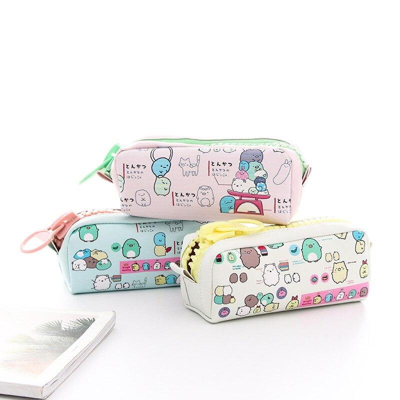 Kawaii Sumikko Gurashi PU gran capacidad lápiz bolsa Escuela de suministros de oficina papelería de almacenamiento