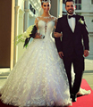 Don's Bridal Customized Long Sleeve Chapel Train Lace Ball Gown Princess Wedding Dress 2016 Vestido De Noiva
