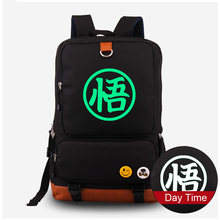 New Arrival Dragon Ball Z Goku Cosplay Canvas Backpack Fluorescent Schoolbag Cartoon Luminous Computer Laptop Bag(China)