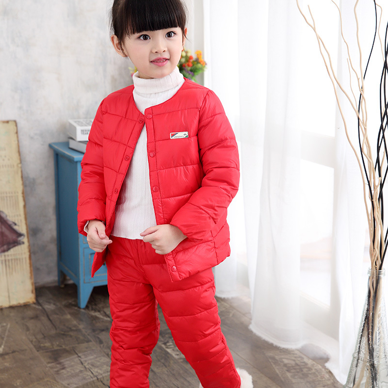 Clearance 2017 winter warm childrens clothing sets 90% white duck down coat+pants baby kids solid boys and girls clothes suits